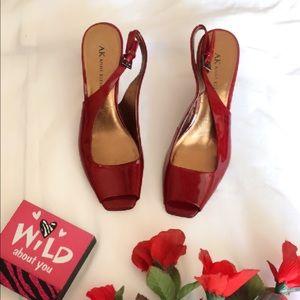 Anne Klein Red Peep Toe Wedge Heels
